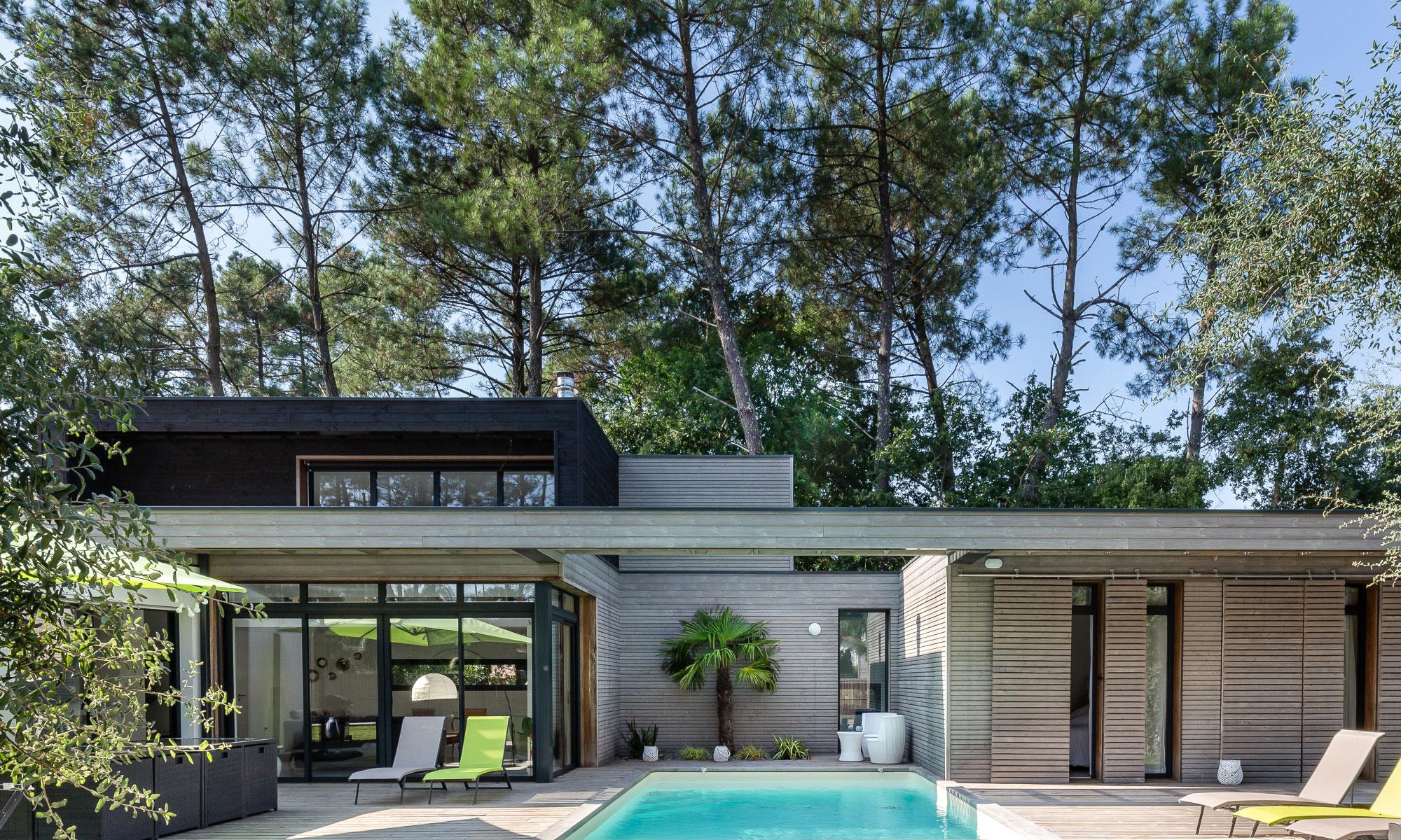 Maison contemporaine - boiclimatic maison bois landes
